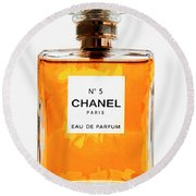 Golden Glow Of Chanel No. 5 Round Beach Towel