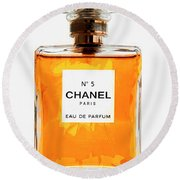 Golden Glow Of Chanel No. 5 Round Beach Towel