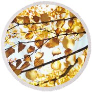 Golden Glow Round Beach Towel