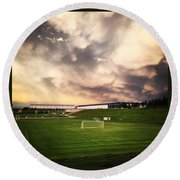 Round Beach Towel featuring the photograph Golden Goal by Christin Brodie
