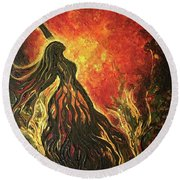 Golden Goddess Round Beach Towel