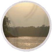Golden Haze Covering The Amazon River Round Beach Towel