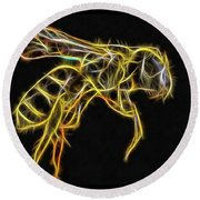 Golden Honey Bee Fractalized Round Beach Towel