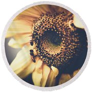 Round Beach Towel featuring the photograph Golden Honey Bees And Sunflower by Sharon Mau