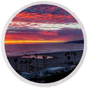 Golden Horizon At Sunset -  Panorama Round Beach Towel