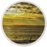 Golden Hour At Seal Beach Round Beach Towel