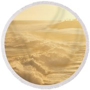 Golden Hour At The Wedge Round Beach Towel