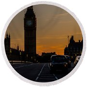 Golden Hour Big Ben In London Round Beach Towel