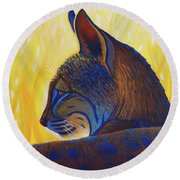 Golden Hour Bobcat Round Beach Towel