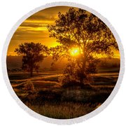 Round Beach Towel featuring the photograph Golden Hour by Fiskr Larsen