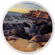 Golden Hour Light On Zabriskie Point Round Beach Towel
