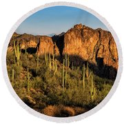 Round Beach Towel featuring the photograph Golden Hour On Saguaro Hill  by Saija Lehtonen