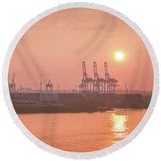 Golden Hour On The Elbe Round Beach Towel