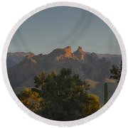 Round Beach Towel featuring the photograph Golden Hour On Thimble Peak by Dan McManus