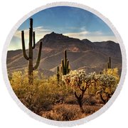 Round Beach Towel featuring the photograph Golden Hour On Usery Mountain  by Saija Lehtonen