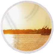 Golden Hour Sailing Ship Round Beach Towel