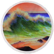 Golden Hour Sea Round Beach Towel by Jeanette French