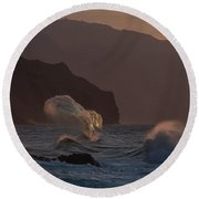 Golden Hour Wave Round Beach Towel