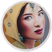 Golden Indian Bride Round Beach Towel