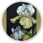 Golden Iris Round Beach Towel
