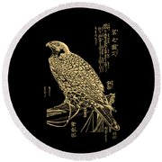 Golden Japanese Peregrine Falcon On Black Canvas  Round Beach Towel