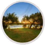 Round Beach Towel featuring the photograph Golden Lake, Yanchep National Park by Dave Catley