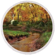 Golden Leaves Of Autumn Round Beach Towel