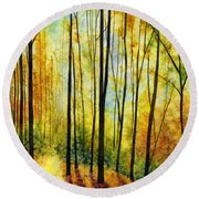 Round Beach Towel featuring the painting Golden Light by Hailey E Herrera