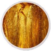 Golden Light Of Angel Round Beach Towel