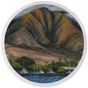 Round Beach Towel featuring the painting Golden Light West Maui  by Darice Machel McGuire