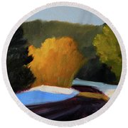 Round Beach Towel featuring the painting Golden Light Winter Road by Nancy Merkle