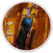 Round Beach Towel featuring the painting Golden Lights by Elise Palmigiani