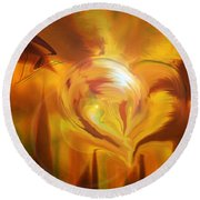 Round Beach Towel featuring the digital art Golden Love by Linda Sannuti