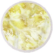 Golden Marble I Gold And White Abstract Art Round Beach Towel