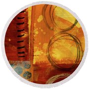 Round Beach Towel featuring the painting Golden Marks 10 by Nancy Merkle