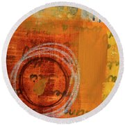 Round Beach Towel featuring the painting Golden Marks 11 by Nancy Merkle