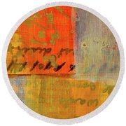 Round Beach Towel featuring the painting Golden Marks 12 by Nancy Merkle