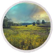 Golden Meadows Round Beach Towel