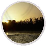 Golden Mississippi River Sunrise Round Beach Towel by Kent Lorentzen
