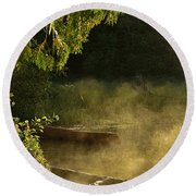 Golden Mist At Knife Lake Round Beach Towel