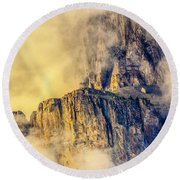 Golden Mist On Cathedral Mountain Round Beach Towel