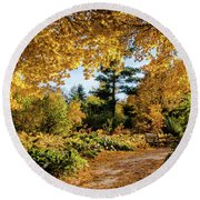 Golden Moment Round Beach Towel