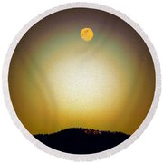 Round Beach Towel featuring the photograph Golden Moon by Joseph Frank Baraba