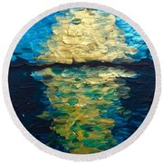 Golden Moon Reflection Round Beach Towel