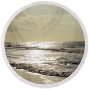 Golden Morning At Folly Round Beach Towel