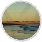 Round Beach Towel featuring the photograph Golden Morning On Rhode Island Coast by Nancy De Flon
