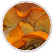 Golden Mushroom Abstract Round Beach Towel