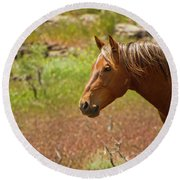 Golden Mustang Stallion Round Beach Towel