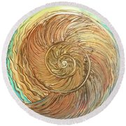 Golden Nautilus Round Beach Towel