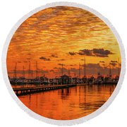 Golden Orange Sunrise Round Beach Towel